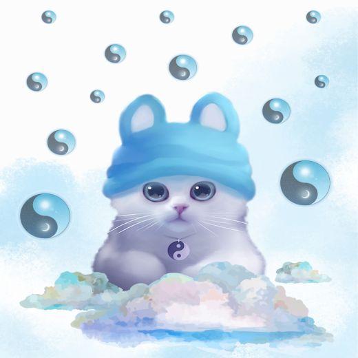 Cute Blue Cat Desenli Baskılı Zebra Perde BZP70410