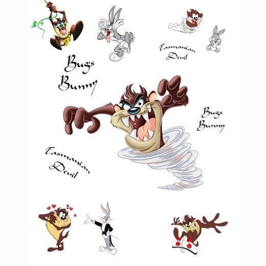 Tazmanian Devil & Bugs Bunny Desenli Baskılı Zebra Perde BZP71070