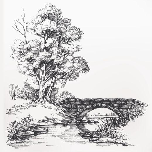 Taş Köprü Desenli Baskılı Zebra Perde BZP70560