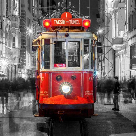 Taksim Tramvay Desenli Baskılı Zebra Perde BZP800