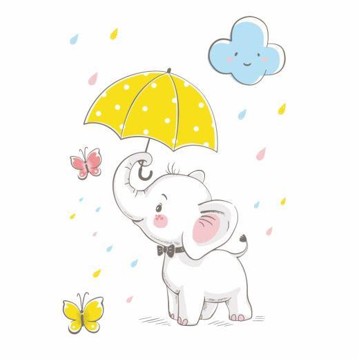 Happy Elephant Desenli Baskılı Zebra Perde BZP71230