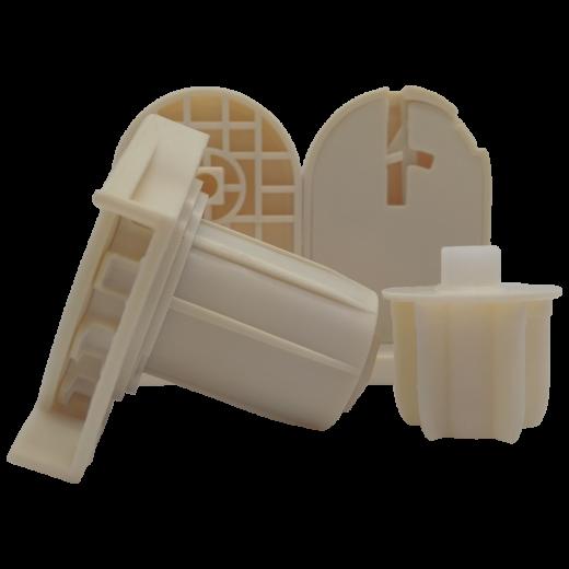 32 lik Zincir Mekanizma, Mandallı ve Kare uçlu Beyaz Ayak Takımı Krem SPY237