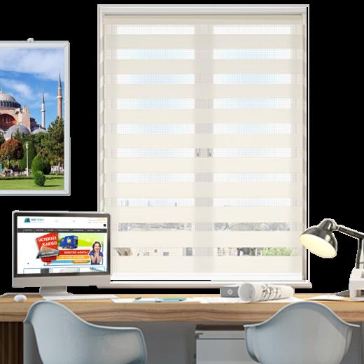 Açık Kırem Desenli ZA Serisi Zebra Stor Perde