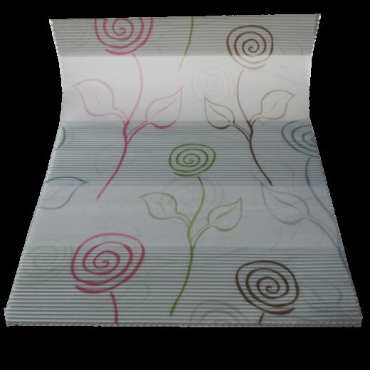 Çizgili Çiçekler Desenli Baskılı Zebra Perde