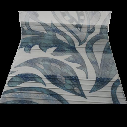 Mavi Yaprak Desenli Baskılı Zebra Perde