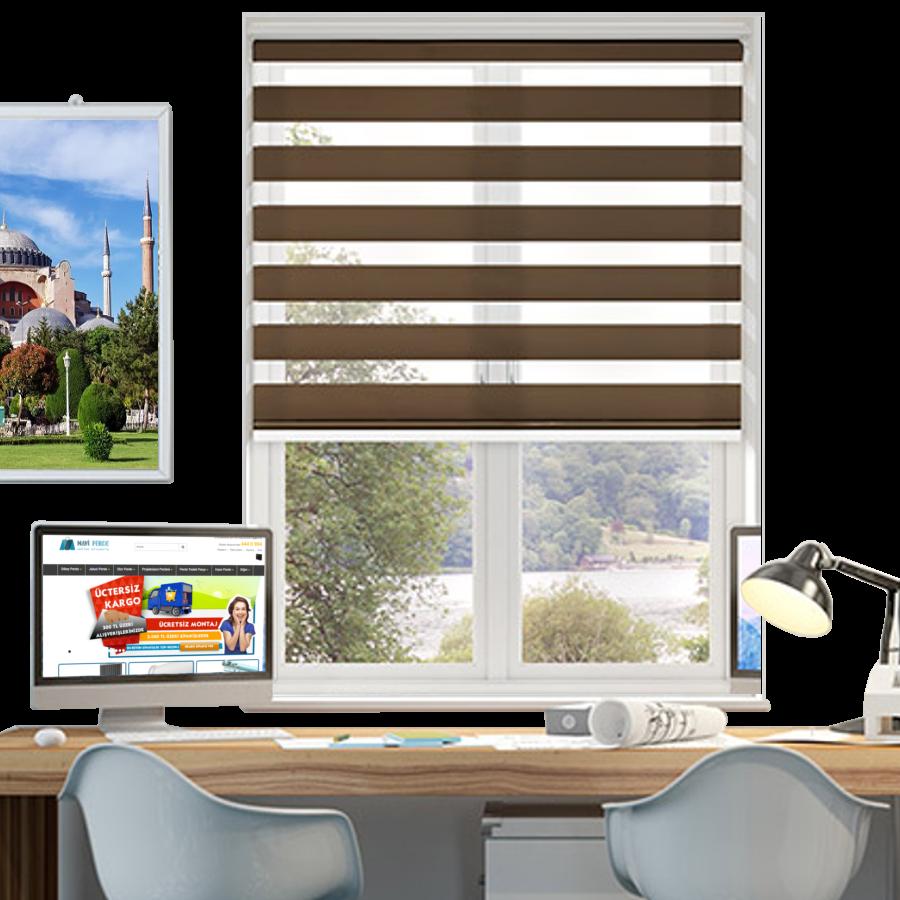 Kahverengi Desenli ZA Serisi Zebra Stor Perde