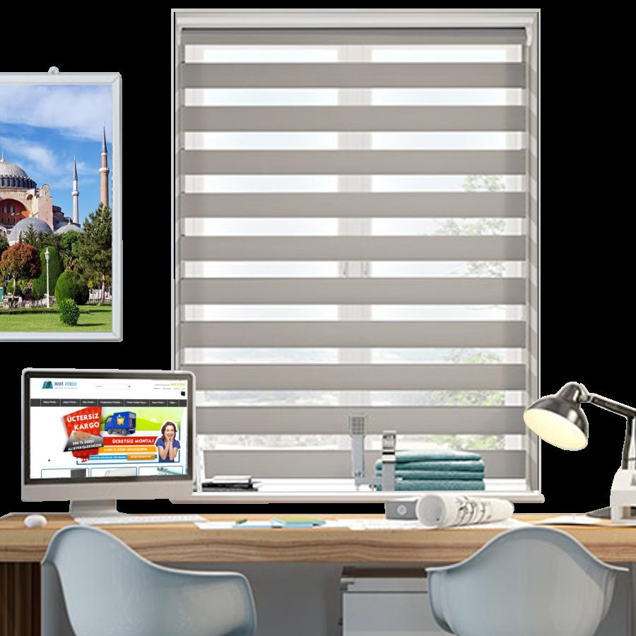 Açık Gri Desenli ZA Serisi Zebra Stor Perde